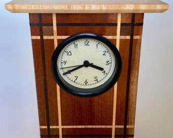 Arts and Crafts Style Mahogany and Birdseye Maple Wooden Clock