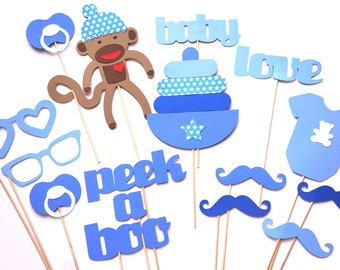 Baby Shower Props - Baby Boy Photo Props - Photo Booth Props - Blue Photo Props