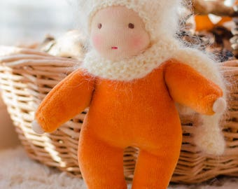 Waldorf Small doll 6,5 inches Pocket doll for dollhouse Soft doll for toddler Ginger colour cotton velour Fluffy hat gift