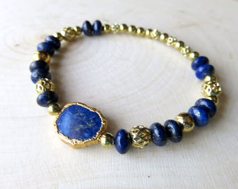 Lapis Stretch Bracelet, Cobalt Blue Gemstones, Lapis Gemstone Jewelry, Dainty Fashion Statement, Gold and Blue, Unique Gift for Her