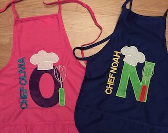 Personalized Chef apron with 3 pockets. Will be customized to your liking.