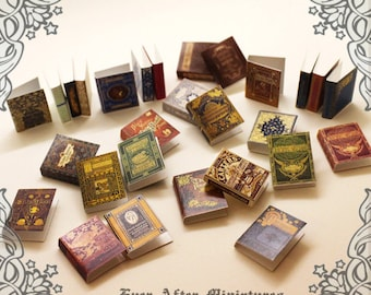 28 Dollhouse Miniature Book Cover Set 3 – Collection of 28 Antique OLD NOVELS Book Cover -1:12 Scale Printable Dollhouse Book Cover DOWNLOAD