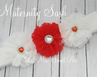 Maternity Sash Red and White Lace Flowers on a sash for photo prop for mom and use for newborn photo shoot, Lil Miss Sweet Pea