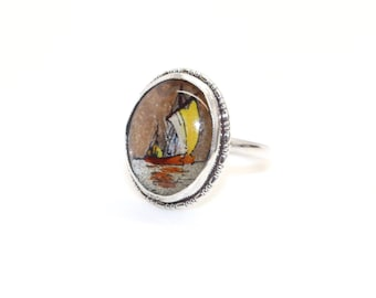 Art Deco Solid Silver BUTTERFLY WING with Hand Painted Sailing Ship Design Ring sz L (US 5.75) Vintage Jewelry