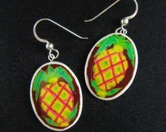 TIKI Pineapple Earrings - Surfer Jewelry - Hawaiian earrings - hand painted fruit jewelry -  ostrich egg shell jewelry