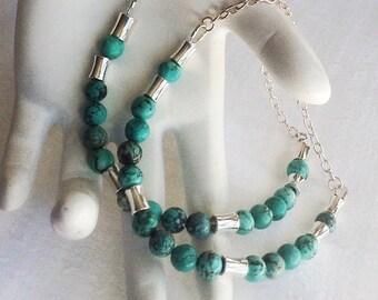 Bracelet Set. His hers Bracelets. Couple Set. Turquoise Bracelet Set. Blue Bracelet. Green Bracelet. Silver Bead Bracelet Set. Set of Two.