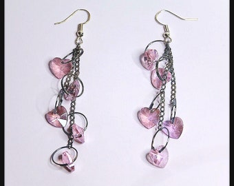 Silver earrings with  pink hearts, pink dangling earrings, cute dangle earrings, gift for her, pink hearts earrings, pink earrings