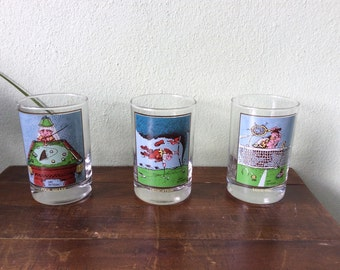 Sports glassware, drinking glasses,Arbys collectible sports glassware, tennis cartoon glass, golf cartoon glass, pool cartoon glass