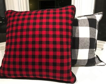 RED Buffalo Plaid quilted back pillow cover