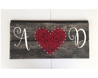 Couples Sign - Monogram Sign - String Art Heart - Wedding Sign - Anniversary Gift - Wall Decor -Wood Sign