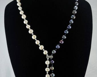 Black and white knotted freshwater pearl sterling silver Y necklace