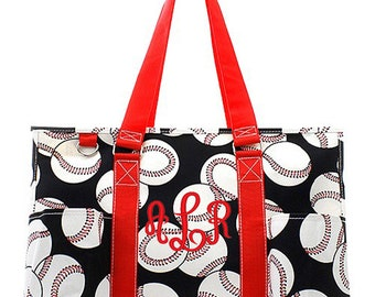 Personalized baseball tote bag, Monogrammed baseball tote, baseball beach bag, baseball team bag, baseball tote red trim, travel bag,