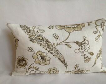 Kravet Neutral Floral Linen and Burlap Lumbar Pillow Cover