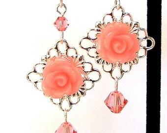 Peach flower earrings, peach earrings, orange floral silver filigree earrings, peach rose earrings, rose peach, dainty peach earrings