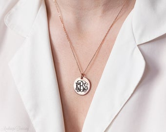 Engraved Monogram Necklace - Custom Monogram Disc Necklace - Engraved Initials Necklace - Personalized Disc Necklace - Bridesmaids Gift