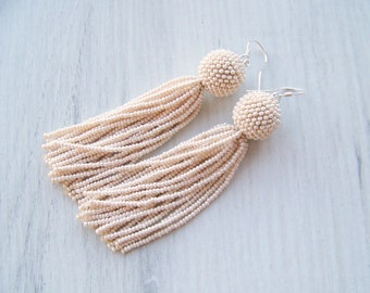 Beaded tassel earrings - Statement Earrings - Creamy beige earrings - Dangle earrings - Long beadwork tassel earrings - Fringe earrings
