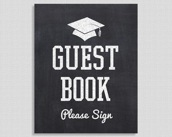 Guest Book Graduation Sign, Chalkboard Style Graduation Party Sign, 8x10 inch, INSTANT PRINTABLE