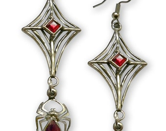 Spider Hanging from Web with Red Stones Pewter Earrings #962