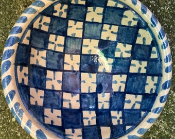Small blue and white checker bowl