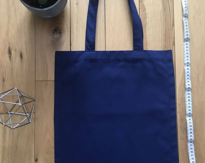 Blue woven cotton drill Tote Bag workwear fabric, zip compartment