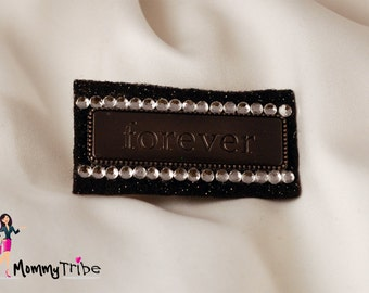 FOREVER Sparkling Pin Brooch / Hair Pin on Black Glitter Felt
