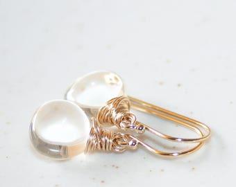 Dainty Clear Rock Crystal Dangle Earrings, 14K Gold Filled, Wire Wrapped, Simple Gemstone Quartz Earrings, April Birthstone