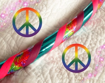 Glitter Hippy Dance & Exercise Hula Hoop COLLAPSIBLE or Push Button  tie dye rainbow