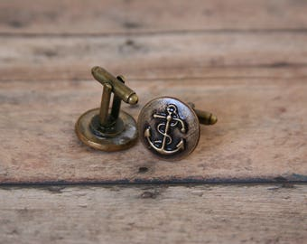 Anchor Cufflinks Nautical Cuff Links Naval Navy Ship Sailboat - made with vintage anchor buttons