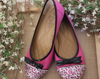 Pink ballet flats with bling