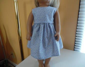 "Blue flowered dress for 18"" dolls"