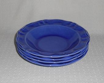 Varages France Luberon Blue Rim Soup Bowls  Set of 4