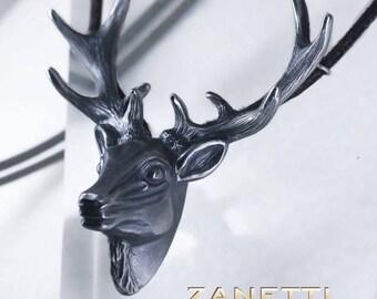 Deer Leopold of extravagant pendant animal jewelry necklace