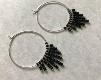 Large Hoop Fringe Earrings