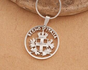 "Silver Italy Coin Pendant, Hand cut Italian 20 centisimo coin, Italian Coin Jewelry, 3/4"" in diameter , ( # 195S )"