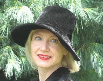 1970s black velvet high brimmed hat
