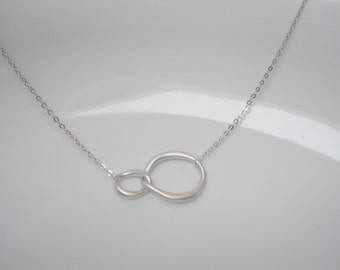 Double link necklace , silver links necklace , two circles necklace matte silver , entwined necklace