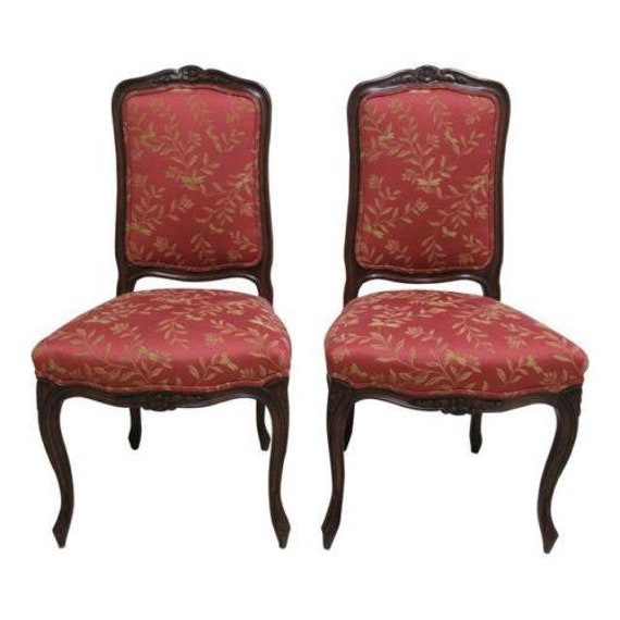 Pair Country French Fremarc Designs Dining Room Desk Side Chairs Walnut B