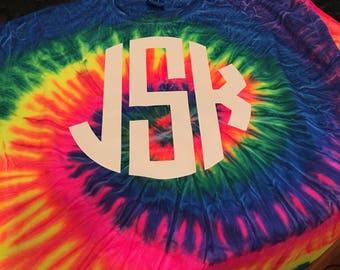tie dye monogrammed shirt