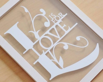 L is for love papercut in an a4 floating frame