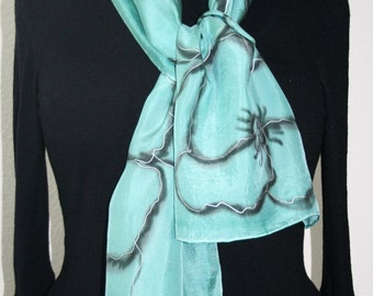 Sage Green Silk Scarf. Teal Hand Painted Silk Shawl. Black Handmade Silk Scarf PEPPERMINT DREAMS, size 8x54. Birthday, Bridesmaid Gift.