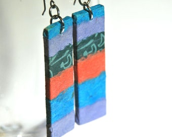 Long Striped Hanji Paper Earrings OOAK Patchwork Blue Purple Green Coral Turquoise Aqua Handmade Hypoallergenic hooks Lightweight