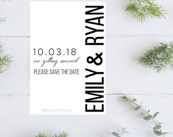 Save the Date magnet-black and white save the date magnet-wedding-postcard-save the date card-magnet-save the date cards-invitation Minimal