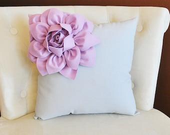 Baby Nursery Lilac Corner Dahlia on Gray Pillow 14 X 14 -Flower Pillow- Nursery Pillow