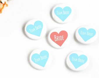 Coral and Aqua Team Bride Pins, Bridal Party Buttons, Bachelorette Party, Bridal Shower Favor, Magnet Badge, Wedding Party, Bridesmaid Pins