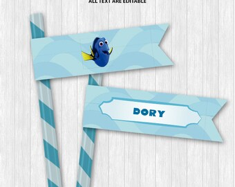 Finding Dory Straw Flags