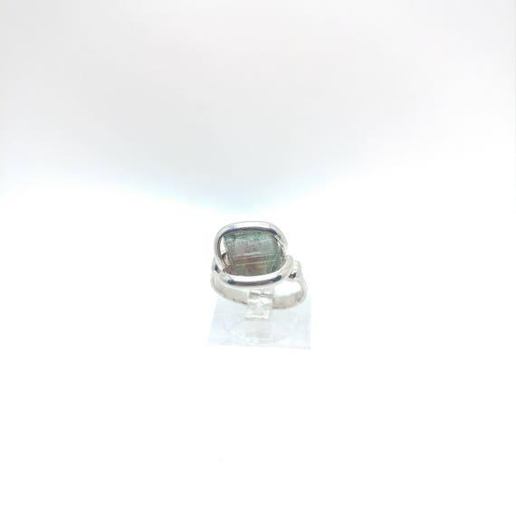 Multicolor Tourmaline Crystal Ring | Raw Stone Ring | Sterling Silver Ring Sz 6 | Rough Crystal Ring | October Birthstone Jewelry
