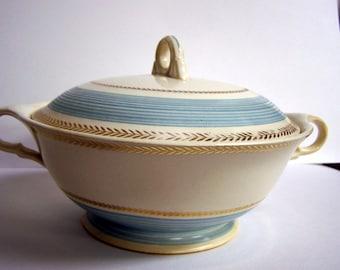 Vintage Lidded Serving Bowl Blue and Gold Trim