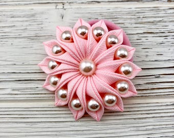 Kanzashi Flower Hair Clip. Pink Flower Hair Clip. Flower Hair Clip with Pearls. Flower Ponytail Holder. Pink Glitter flower. Gift for girl