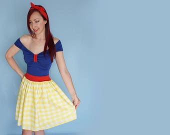 Yellow Snow White Gingham Dress - Princess Costume - Disneybound Dress - Adult Costume - Yellow Gingham - Princess Dress - Dapper Day