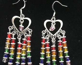 Rainbow heart chandelier earrings
